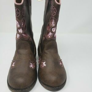 Faded Glory Kids Girls Cowgirl Boots Shoe Size 8